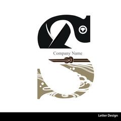 Vector of Kimono style alphabet tape S. Traditional Japanese.