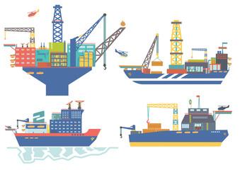 Oil platform, drillship, oil and gas barge, icebreaker vector