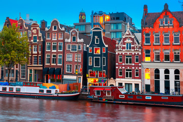 Wall Murals Lavender Night city view of Amsterdam canal