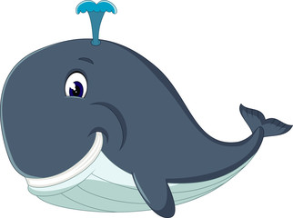 illustration of Happy cartoon whale