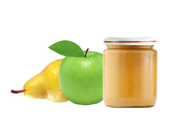 Jar of baby puree, green apple and pear isolated on white