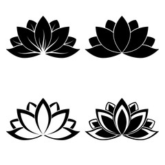 four lotus silhouettes for design vector