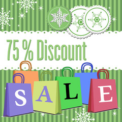 Abstract colorful background with winter decorations, colored Christmas shopping bags and the text seventy five percent discount written in green