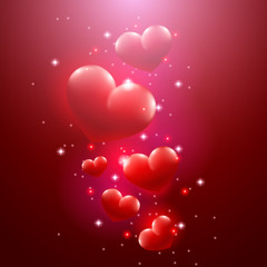 Valentine's day card, floating hearts.