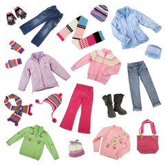 Color- and size-coordinated collection of girls winter clothes, isolated on white