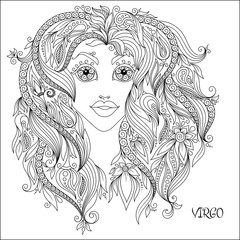 Hand drawn pattern for coloring book zodiac Virgo.