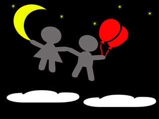 boy and girl floating in the sky at night