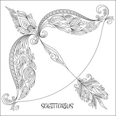Hand drawn pattern for coloring book zodiac Sagittarius.