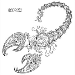 Hand drawn pattern for coloring book zodiac Scorpio.