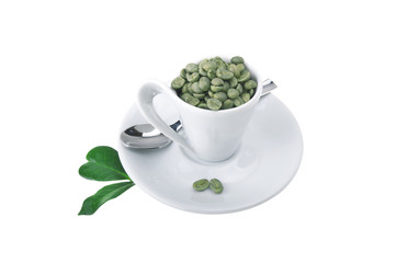 Wall Mural - Cup of coffee with green coffee beans on the white