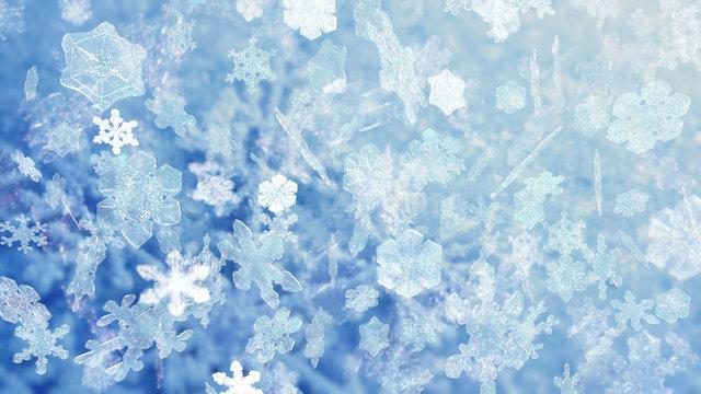 Christmas snowflakes falling 10599