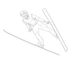 Ski jumping. A man in the air. Vector sketchy illustration