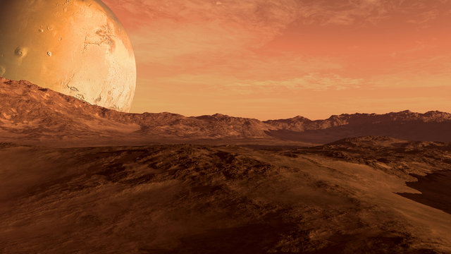 Red planet with arid landscape, rocky hills and mountains, and a giant Mars-like moon at the horizon, for space exploration and science fiction backgrounds.