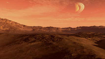 Red planet with arid landscape, rocky hills and mountains, and a Saturn-like moon, for space exploration and science fiction backgrounds