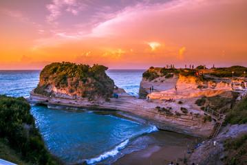 Canal d'amour Sidari, Corfu Island in Greece. Channel of love. Beautiful Canal d'amour (channel of love in English) in sunset.