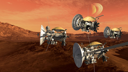 Unmanned spacecraft probes scouting a Mars like red planet, for space exploration and science fiction backgrounds.