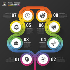 Abstract colorful tree. Timeline infographic template. Vector il