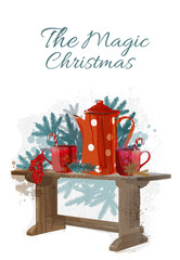 watercolor vector set of christmas decoration