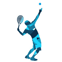 Tennis player. Abstract blue vector silhouette