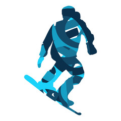 Snowboarder. Flat design blue silhouette