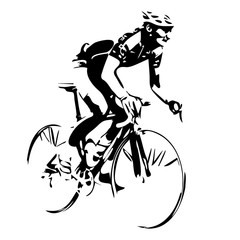 Cyclist, cycling vector drawing