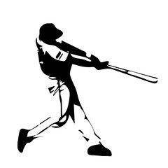 Baseball player swinging bat. Vector silhouette