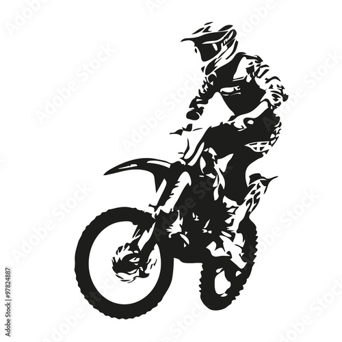 """Motocross rider. Vector silhouette"" Stock image and ..."