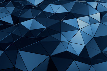 Abstract 3D Rendering of Low Poly Blue Surface.