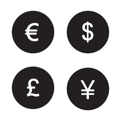 Currency symbols black icons set