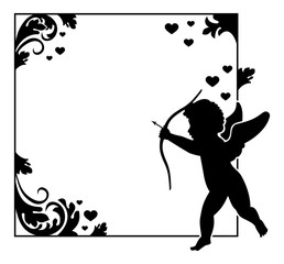 Ornamental black and white frame with Cupid silhouette