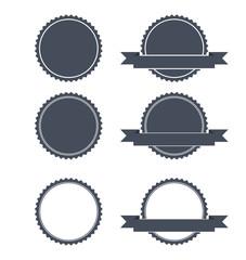 Blank Round Stamp Logo Sharp edges - Isolated Illustration