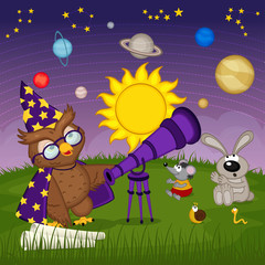 owl astronomer with animal are watching for planets  - vector illustration, eps