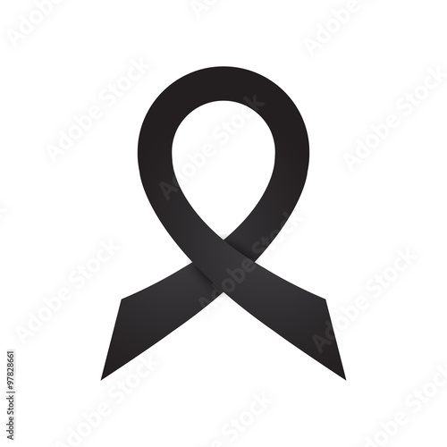 Black Ribbon Attention To The Symbols Of Mourning Stock Image And