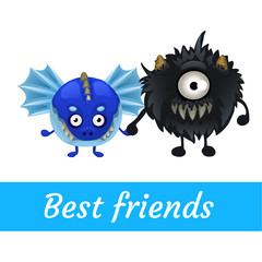 Two vector funny monster isolated, black and blue