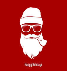 Hipster Santa Claus, Party, Greeting Card, Banner, Sticker, Hipster Style. Pipe