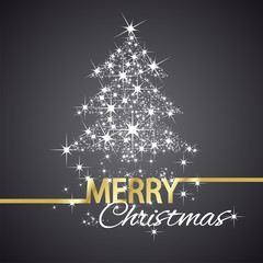 Christmas tree symbol stars black background