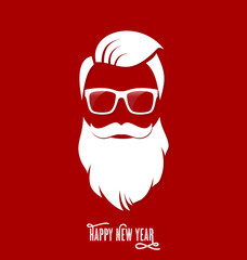 Hipster Santa Claus, Party, Greeting Card, Banner, Sticker, Hipster Style. Hipster Haircut.