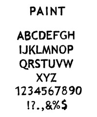 Vector alphabet with numbers on white background