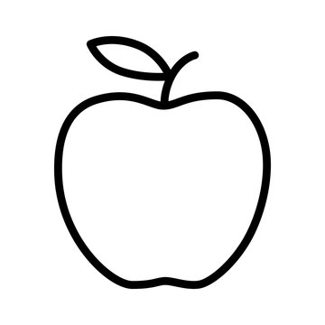 Delicious apple line art icon for apps and websites