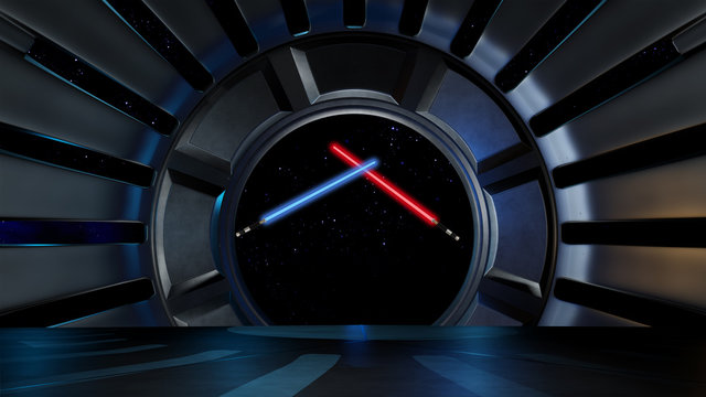 Lightsaber in space environment, ready for comp of your characters 3d rendering