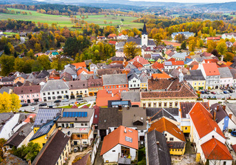 Aerial view of autumn landscape above Weitra from Schloss Weitra Castle Tower in Austria