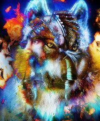 A beautiful airbrush painting of an young indian warrior accompanied with wolf, computer collage.