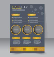 Flyer template. Business brochure. Editable A4 poster for design, education, presentation, website, magazine cover. Golden color.