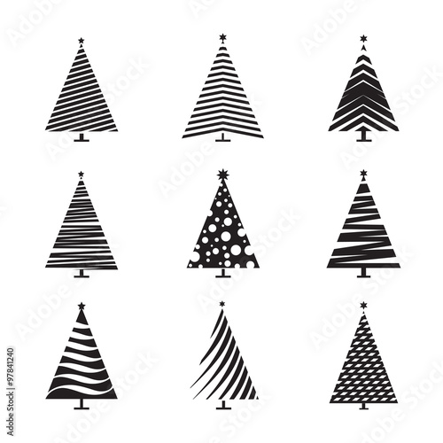 Set Of Black Christmas Tree Vector Illustration And Icons Stock