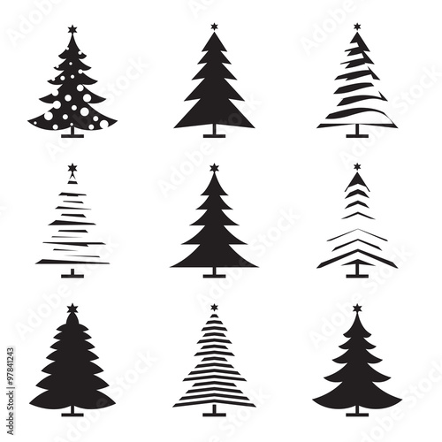 Christmas Tree Vector Image.Set Of Black Christmas Tree Vector Illustration And Icons