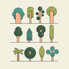 Modern flat trees set. Vector tree icons set, tree symbols.