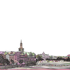 Prague, Czech Republic. View from Karlov bridge. Old Town Bridge Tower in European city, black & white vector sketch hand drawn collection.