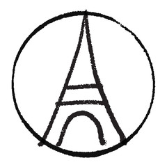Freehand sketch of Eiffel Tower. Abstract banners Pray for France. Pray for killed victims and remembrance day.