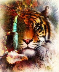 portrait tiger with eagle and butterfly wings.. Color Abstract background and ornament, vintage structure. Animal concept.