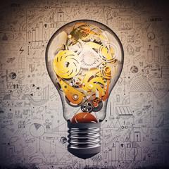 Fototapete - Gear in the lightbulb